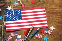 Fondo con i simboli dell'America - celebrazione del 4 luglio Immagine Stock Libera da Diritti