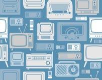 Fondo con i simboli della TV Fotografie Stock