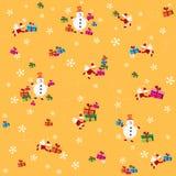 Fondo con il Babbo Natale, i pupazzi di neve ed i presente Fotografia Stock Libera da Diritti