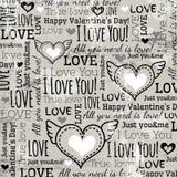 Fondo con il cuore del biglietto di S. Valentino ed il testo di desideri,  Immagine Stock