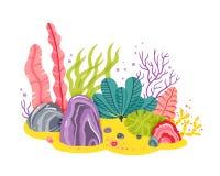 Fondo con il fondo dell'oceano, barriere coralline, alga Vector l'illustrazione astratta di un paesaggio subacqueo in a Fotografia Stock