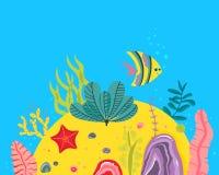 Fondo con il fondo dell'oceano, barriere coralline, alga Vector l'illustrazione astratta di un paesaggio subacqueo in a Immagine Stock