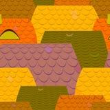 Fondo con il modello delle mattonelle di tetti in molti colori Immagini Stock