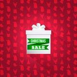 Fondo con il modello di simbolo di Natale Scatola bianca elegante con la vendita di parola Immagine Stock