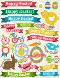 Fondo con il nastro, uova di Pasqua, coniglio Fotografia Stock