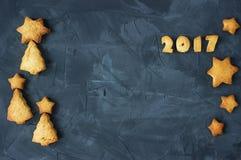 Fondo con il pan di zenzero al forno sotto forma delle stelle, degli alberi di Natale e del testo 2017 Idea creativa Fotografie Stock Libere da Diritti