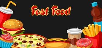 Fondo con il pasto rapido Prodotti saporiti del pranzo di pasto rapido royalty illustrazione gratis