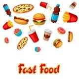 Fondo con il pasto rapido Prodotti saporiti del pranzo di pasto rapido illustrazione di stock