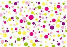 Fondo con il rosa giallo verde ed i punti colorati porpora illustrazione vettoriale
