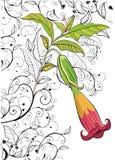 Fondo con il singolo fiore ed il reticolo astratto Fotografia Stock
