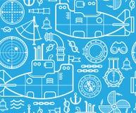 Fondo con il sottomarino Immagini Stock Libere da Diritti