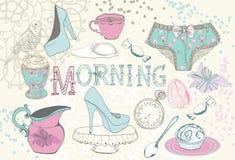 Fondo con il tè di mattina Fotografia Stock