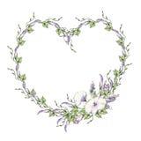 Fondo con l'acquerello che estrae i fiori selvaggi, struttura floreale rotonda, corona con le piante dipinte del campo, confine d Fotografie Stock