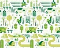 Fondo con l'agricoltura delle siluette Immagini Stock Libere da Diritti