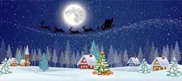 Fondo con l'albero di Natale ed il villaggio di notte Fotografia Stock
