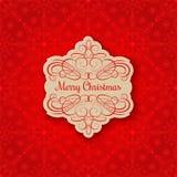 Fondo con l'etichetta di Natale Cartolina d'auguri Immagine Stock Libera da Diritti
