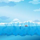 Fondo con l'iceberg e la nave lunghi Vettore illustrazione di stock