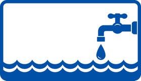 Fondo con l'onda ed il rubinetto di acqua Fotografie Stock Libere da Diritti