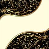 Fondo con l'ornamento e le onde dell'oro Fotografia Stock