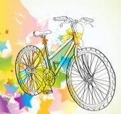 Fondo con la bicicleta y las estrellas ilustración del vector