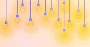 Fondo con la bombilla que brilla intensamente colorida Imagen de archivo