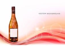 Fondo con la bottiglia di vino Immagine Stock