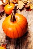 Fondo con la calabaza anaranjada en la tabla de madera, h de la acción de gracias Imagen de archivo libre de regalías