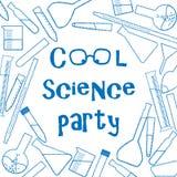 Fondo con la cristalería química para el cartel fresco del partido de la ciencia Foto de archivo