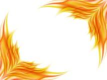 Fondo con la flor abstracta en colores rojos y amarillos en esquinas opuestas de una imagen en blanco, el ángulo de la liquidació Foto de archivo