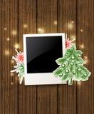 Fondo con la foto e l'albero di Natale Fotografie Stock Libere da Diritti
