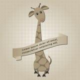 Fondo con la giraffa del fumetto Immagini Stock Libere da Diritti