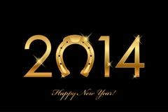 fondo 2014 con la herradura del oro para buena suerte (año o Fotos de archivo