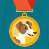 Fondo con la medalla de oro y el campeón del perro Foto de archivo libre de regalías