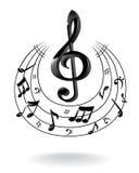 Fondo con la nota de la música. Imagen de archivo libre de regalías
