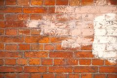 Fondo con la pared de ladrillo lamentable vieja Imagen de archivo libre de regalías