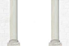 Fondo con la pared de ladrillo y dos pilares romanos Imagen de archivo libre de regalías