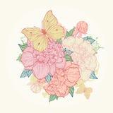 Fondo con la peonia e la farfalla Fotografia Stock