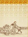 Fondo con la señora japonesa Foto de archivo libre de regalías