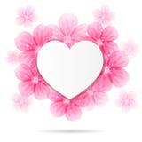 Fondo con la struttura ed i fiori a forma di del cuore Immagine Stock
