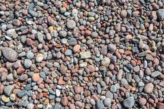 Fondo con la tabla colorida grande en la playa en sombras naturales Cierre del fondo del guijarro para arriba Piedras lisas natur Foto de archivo libre de regalías