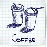 Fondo con la taza de café del takeaway del bosquejo dos Foto de archivo libre de regalías