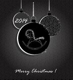 Fondo con las bolas y el caballo de la Navidad Foto de archivo