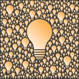 Fondo con las bombillas del vector Concepto de la creatividad y de las ideas Fotos de archivo libres de regalías
