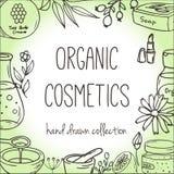 Fondo con las botellas cosméticas Ejemplo orgánico de los cosméticos Imágenes de archivo libres de regalías