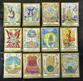 Fondo con las cartas de tarot viejas Fotografía de archivo libre de regalías