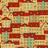 Fondo con las casas amarillas ilustración del vector