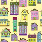 Fondo con las casas coloridas stock de ilustración