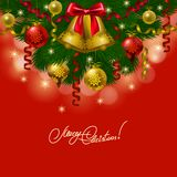 Fondo con las chucherías, árbol de navidad. Imagen de archivo