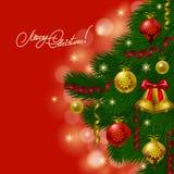 Fondo con las chucherías, árbol de navidad. Imágenes de archivo libres de regalías