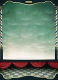 Fondo con las cortinas rojas y el marco de madera Imagen de archivo